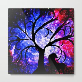Stars Trees Moon Horse Metal Print