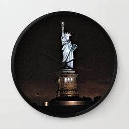 Nighttime Statue of Liberty and Flag Wall Clock