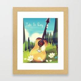 Take it Easy guitar poster. Framed Art Print