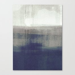 Navy Blue and Grey Minimalist Abstract Landscape Canvas Print