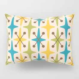 Mid Century Modern Abstract Star Pattern 441 Yellow Brown Turquoise Chartreuse Pillow Sham
