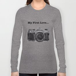 Pentax K1000 My First Love graphic art sketch camera Long Sleeve T-shirt