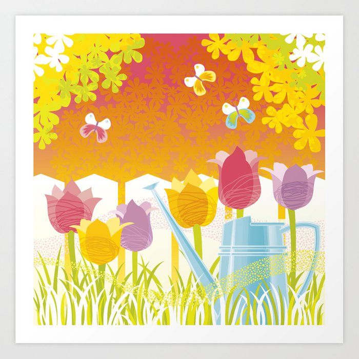 Spring Time. Tulips. Art Print