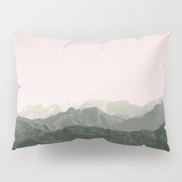 Mountains | Green + Pink Pillow Sham