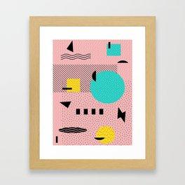 Hello Memphis Peach Berry Framed Art Print