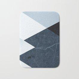 Geometrics II - blue marble & silver Bath Mat