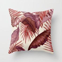 HAWAIIAN GARDEN TROPICAL LEAVES  burgundy ivory Throw Pillow