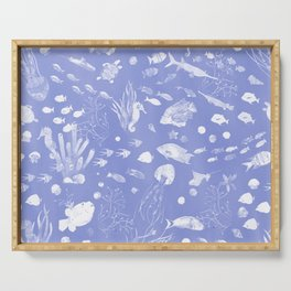 Watercolor Seascape in Lavender Blue Serving Tray