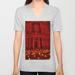 Nabatean Kingdom Petra 'Treasury' Ruins Rose City by Night Candle Ceremony Unisex V-Neck