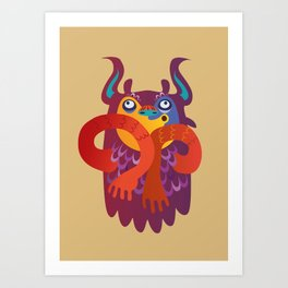 Silly Brown Yetti Art Print