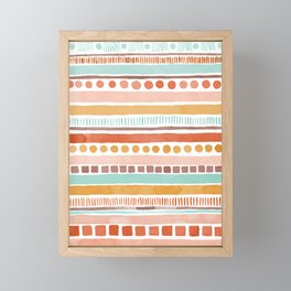 Boho Stripes - Watercolour pattern in rusts, turquoise & mustard. Nursery print Framed Mini Art Print