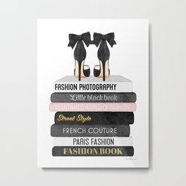Books, Fashion books, Gray,Fashion art, fashion poster, fashion wall art, fashion illustration, fash Metal Print