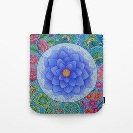 Violet Flower Mandala Tote Bag