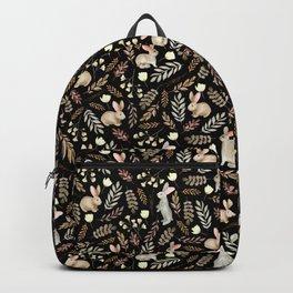 Cute rabbits. Vintage black pattern Backpack