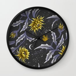 Queen of the Night - Grey Yellow Wall Clock