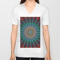 fractal V-neck T-shirts featuring Peacock fractal by David Zydd