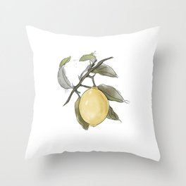 Original Lemon Watercolor Painting #Fruit Throw Pillow