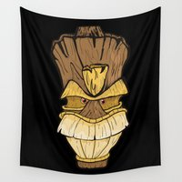 tiki Wall Tapestries featuring Freaki Tiki by The Backwater Co
