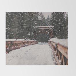 Nisqually River Suspension Bridge Throw Blanket