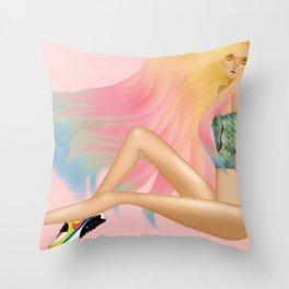 Nike Air Max & Dip Dye hair Throw Pillow