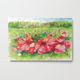 Red Flower Field Watercolors Metal Print