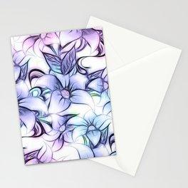 Violet pink teal hand painted sketch elegant floral Stationery Cards