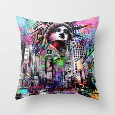 new york city urban collage Throw Pillow
