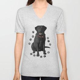 Black Labrador Retriever Paw Prints Unisex V-Neck