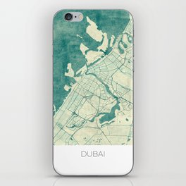 Dubai Map Blue Vintage iPhone Skin