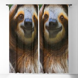 Happy sloth eating hibiscus flowers Blackout Curtain