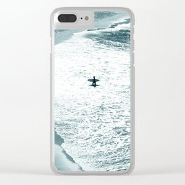 Lone surfer - slate Clear iPhone Case