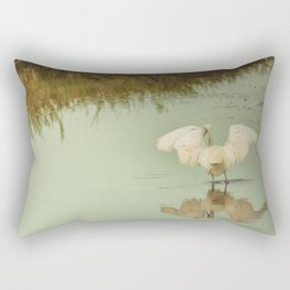 White Egret in Soft Green Pond Rectangular Pillow