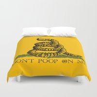 poop Duvet Covers featuring DON'T POOP ON ME by Gimetzco's Damaged Goods