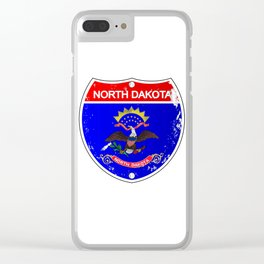 North Dakota Flag Icons As Interstate Sign Clear iPhone Case