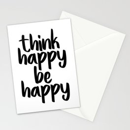 Think Happy Be Happy, Inspirational Quote, Motivational Quote, Positive Thinking, Art Stationery Cards