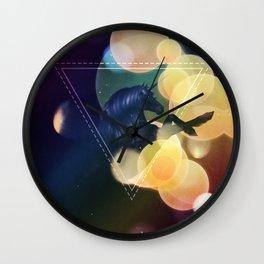 Black Unicorn with yellow bokeh Wall Clock