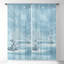 Christmas Winter Wonderland Snow Night Sheer Curtain