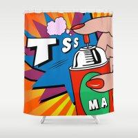 pop art Shower Curtains featuring POP ART  by mark ashkenazi