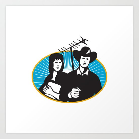 cowboy and girl holding aerial outdoor antennae Art Print