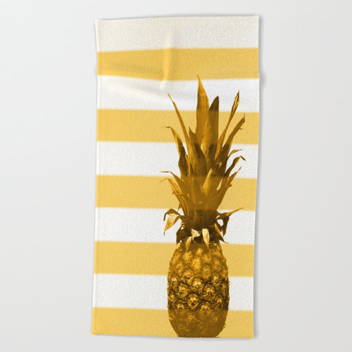 Pineapple with yellow stripes - summer feeling Beach Towel