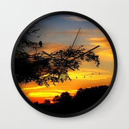 Sunset in the country Wall Clock