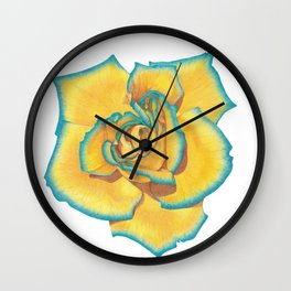 Yellow and Turquoise Rose Wall Clock