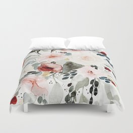 Loose Watercolor Bouquet Duvet Cover