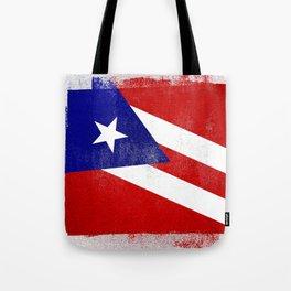 Puerto Rican Distressed Halftone Denim Flag Tote Bag