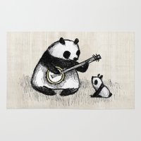 banjo Area & Throw Rugs featuring Banjo Panda by Sophie Corrigan