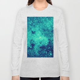 Teal Turquoise GalaXy. Sparkle Stars Long Sleeve T-shirt