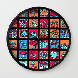 Apples Trees and Flowers Mini Doodle Art - Black Red Blue Wall Clock
