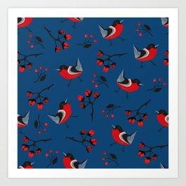 Bird Seamless Pattern. Bullfinch birds Art Print