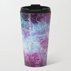 Cat Space - Galaxy Stars Blue Turquoise Purple Star Kitty Pattern Metal Travel Mug