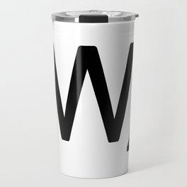 Letter W - Custom Scrabble Letter Tile Art - Scrabble W Initial Travel Mug